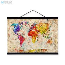 vintage retro colorful world map shabby chic wood framed canvas