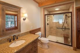 Asian Benches Boston Tile Shower Pan Bathroom Rustic With Wood Ceiling Beam