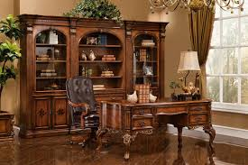 Obama Oval Office Decor Executive Desk Antique Walnut W Gold Accent Finish 14748