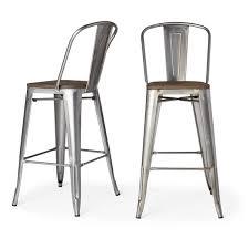 Bar Stool Sets Of 2 Tabouret Bistro Wood Seat Gunmetal Finish Bar Stools Set Of 2