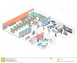 isometric interior shopping mall grocery computer household