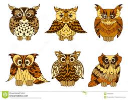 Great Horned Owls With Mottled Brown Plumage Stock Vector Image
