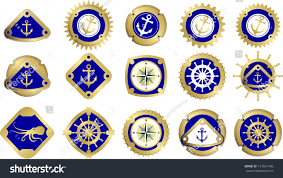 Nautical Theme Marine Signs Pictograms Nautical Theme Anchors Stock Vector
