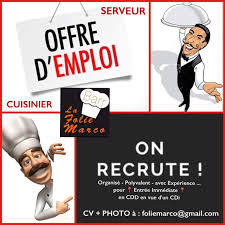 offre emploi cuisine offre d emploi restaurant folie marco recrute