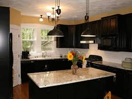 Kitchen Island With Pendant Lights by Kitchens With Black Cabinets Brown Chairs Minimalist Striped