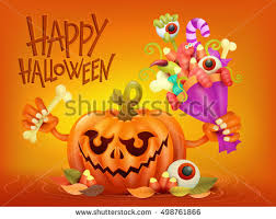 halloween clipart creation kit pumpkin funny pumpkin character on orange background stock vector