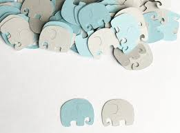 baby shower decoration elephant confetti blue gray elephant