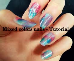 mixed colors nails blue pink light blue cz tutorial youtube