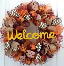welcome fall wreath mesh thanksgiving wreath thanksgiving