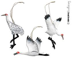hand painted sandhill u0026 whooping crane christmas ornaments