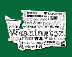 washington evergreen state word art typography wall art home