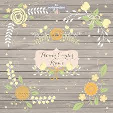 flower corner frame wedding floral clip art hand illustrated
