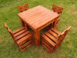 Diy Wood Pallet Outdoor Furniture by Pallet Dining Table And Chairs