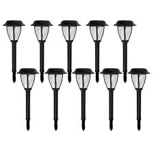 home depot path hton bay solar black outdoor integrated led lantern landscape