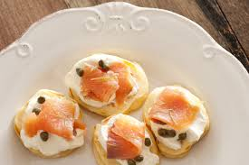 bellini canape capers and lox blini appetizers free stock image