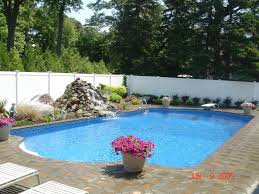 pool simple and neat backyard landscaping decoration using round