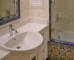 semi recessed sink bathroom mediterranean with caesarstone counter