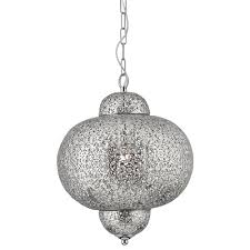 Searchlight Ceiling Lights Searchlight 9221 1ss Moroccan 1 Light Ceiling Pendant Shiny Nickel