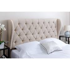 living chambers tufted wheat linen wingback headboard