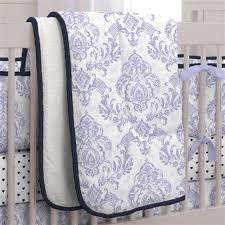 Lilac Damask Crib Bedding Lilac And Navy Damask Crib Comforter Carousel Designs