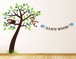 personalised monkey tree wall stickers by parkins interiors