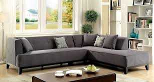 grey fabric modern living room sectional sofa w wooden legs sofia ii transitional gray fabric sectional w throw pillows us made