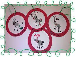 my kindergarten reindeer thumbprint ornaments