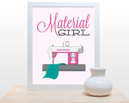 Sewing Room Decor Sewing Craft Print Material Girl 11x14 Poster Art Retro Sewing