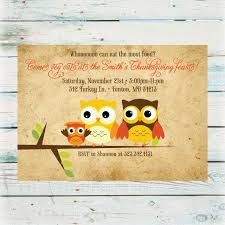 Dinner Invitation Cards Cute Thanksgiving Dinner Invitation Card With Owls Picture And