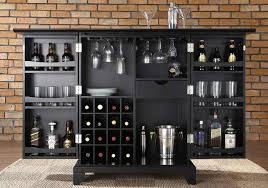 furniture portable black home bar cabinet with wine storage and