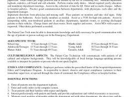 Patient Care Technician Sample Resume Er Technician Resume Eliolera Com