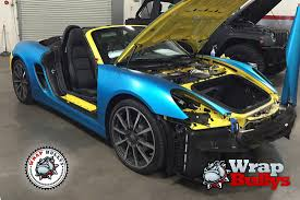 porsche wrapped porsche boxster wrapped in 3m satin ocean shimmer blue wrap bullys