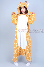 fleece giraffe onesie kigurumi pajamas