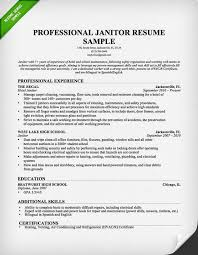 Sample Objective Of Resume by Professional Janitor Resume Sample Resume Genius