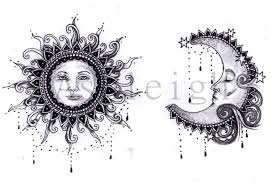 bohemian sun and moon tattoo sketch coloring page