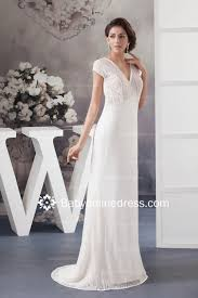 Informal Wedding Dresses Uk Fabulous Sheath Column Draped Floor Length Short Sleeve Wedding