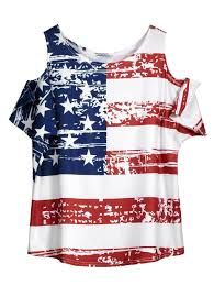 American Flag Corset White One Size Cold Shoulder Distressed American Flag T Shirt