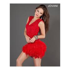 jovani 1263 red feather skirt cocktail dress jovani party dresses