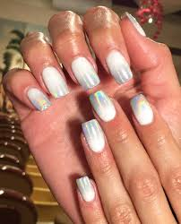 full set acrylic with white gel hologram the nails club in la
