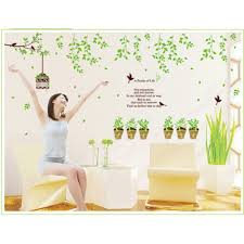branch green plants and birds cage wall sticker tree branch green plants and birds cage wall sticker