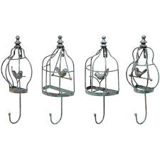 decorative unique wall hooks decorative vintage birdcage designer metal wall mounted coat garment hooks