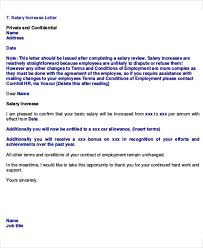 salary increase letter template from employer to employee letter