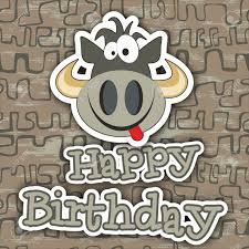 cute happy birthday card with funny cow vector illustration