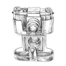 old camera sketch on white background royalty free cliparts