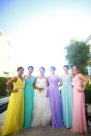 rainbow bridesmaids dresses for a colorful wedding full of love