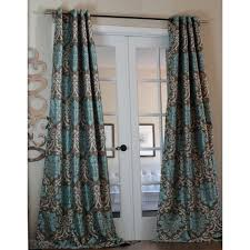 Burgundy Curtain Panels Lambrequin Milan Damask Medallion Smoky Teal Curtain Panel By