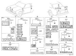 lexus interior parts catalog toyota corollake70 eekrs body emblem name plate exterior