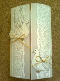 step by step to make invitation cards with lace and doves oh my