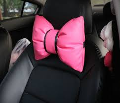pink car interior amazon com charming bowknot leather neck pillow headrest cushion