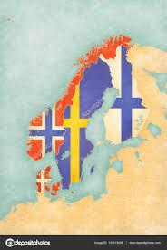 Scandinavia Map Map Of Scandinavia All Countries U2014 Stock Photo Tindo 131313436
